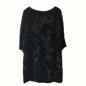 Donna Morgan Black Burnout Velvet Sheath Dress